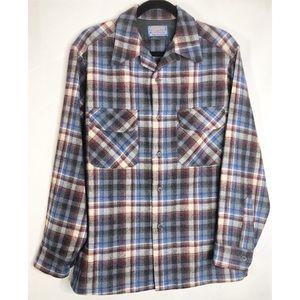 Plaid Pendleton long sleeve button down M wool